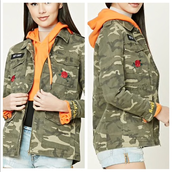 2db8423859b69 Forever 21 Jackets & Coats | F21 Get Lost Camo Patch Jacket | Poshmark